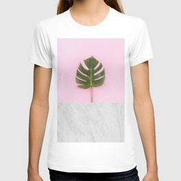 Tropical leaf and marble T-shirt