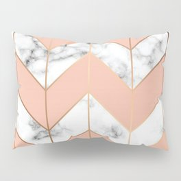 LUXE ROSE GOLD VECTOR ON BLACK AND WHITE MARBLE Pillow Sham