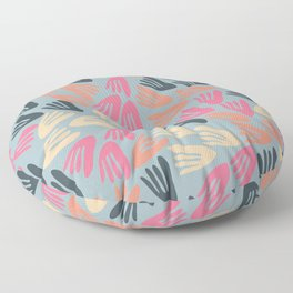 Papier Découpé Abstract Pattern in Bright Pink, Apricot Cream, and Light Steel Blue Floor Pillow