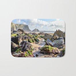 Watergate Bay - Seaweed covered Rocks Bath Mat