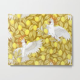 Vintage Pattern, Lemons and Birds, 1897 Metal Print