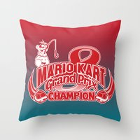 mario kart Throw Pillows featuring Mario Kart 8 Champion by Kody Christian