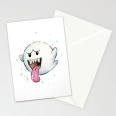 Boo Ghost Mario Watercolor Videogame Geek Painting Stationery Cards