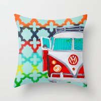 vw Throw Pillows featuring VW by Drica Lobo Art