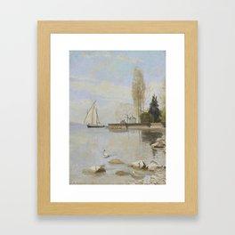 Francois Bocion , Boat off the docks Montreux 1888 Framed Art Print