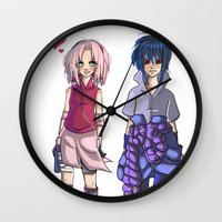 sasuke Wall Clocks featuring Ninja Love by Christine Tribou