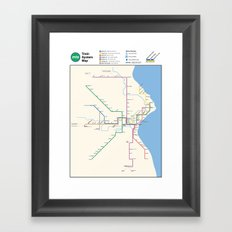 Milwaukee Transit System Map Framed Art Print