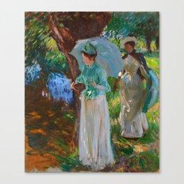 "John Singer Sargent ""Two Girls with Parasols at Fladbury"" Canvas Print"