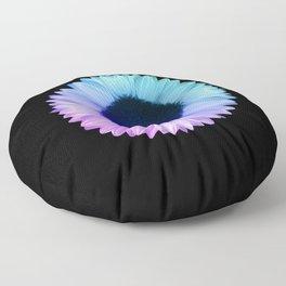 Iridescent Geometric Sunflower Decor \\ Symmetrical Flowers Pink Purple Blue Nature Bohemian Style Floor Pillow