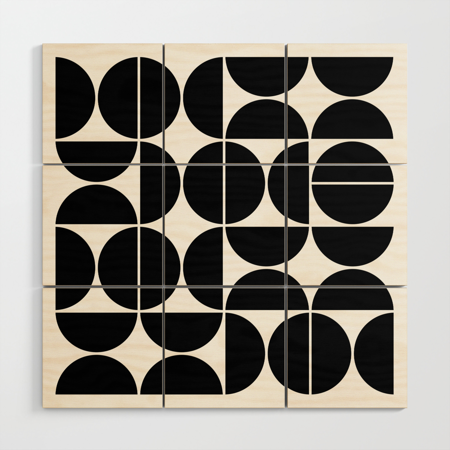 Mid Century Modern Geometric 04 Black Wood Wall Art By Theoldartstudio