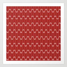 Geometrical Leaves Red&Pink Art Print