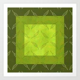 Palm Leaf Zig Zags! in Crocodile Green Art Print
