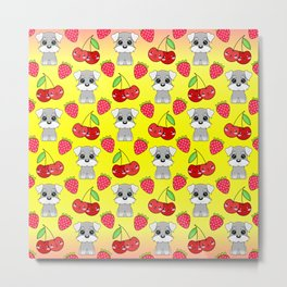 Cute little happy grey little baby Schnauzer puppies, yummy red sweet summer strawberries and funny Kawaii cherries sunny yellow fruity pattern design. Metal Print