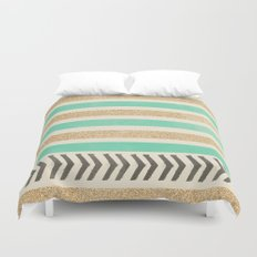 MINT AND GOLD STRIPES AND ARROWS Duvet Cover
