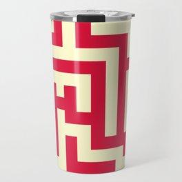 Cream Yellow and Crimson Red Labyrinth Travel Mug