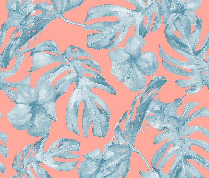 Island Life Pale Teal Blue on Coral Pink Metal Travel Mug
