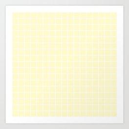 Lemon chiffon - pink color - White Lines Grid Pattern Art Print