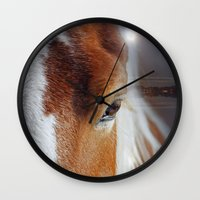 horses Wall Clocks featuring horses  by mark ashkenazi