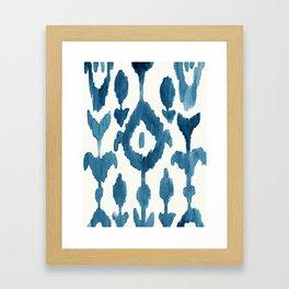 Painterly Flower Ikat Indigo Framed Art Print