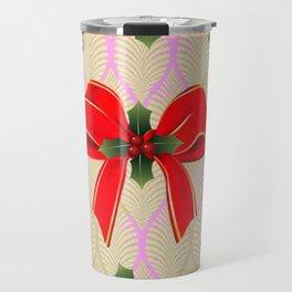 RED RIBBON BOW HOLLY BERRIES CHRISTMAS POINSETTIAS Travel Mug