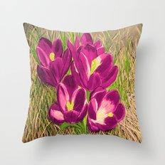 Crocus flowers Throw Pillow