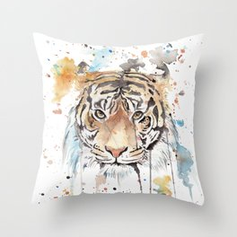 """Watercolor Painting of Picture """"Portrait of a Tiger"""" Throw Pillow"""