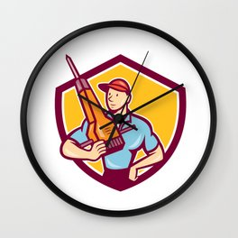 Construction Worker Jackhammer Shield Cartoon Wall Clock