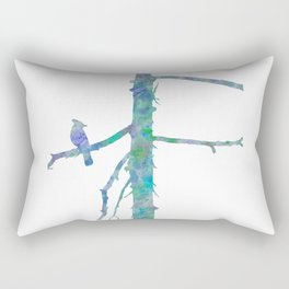 Bluejay On A Tree Watercolor Painting Rectangular Pillow