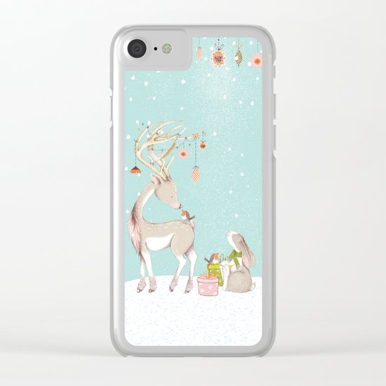 Merry christmas! Little deer decorated with christmasbowls and friends in winter Clear iPhone Case