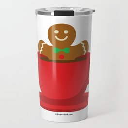 Gingerbread Man Relaxing In A Hot Chocolate Red Cup Travel Mug
