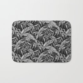 Black and White Feathers Bath Mat