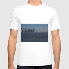 Manhattan Skyline White MEDIUM Mens Fitted Tee