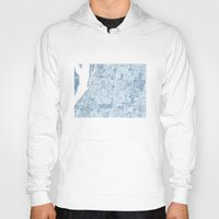 blueprint Hoodies featuring Memphis Tennessee blueprint watercolor map by Anne E. McGraw