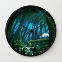 mononoke Wall Clocks featuring Mononoke by Roberto Nieto