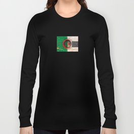 Old Vintage Acoustic Guitar with Algerian Flag Long Sleeve T-shirt