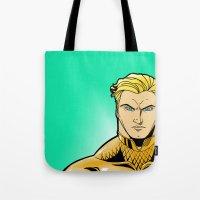 aquaman Tote Bags featuring Aquaman by J. J.
