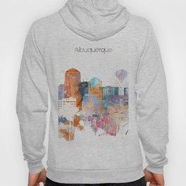 Colorful Albuquerque watercolor skyline Hoody