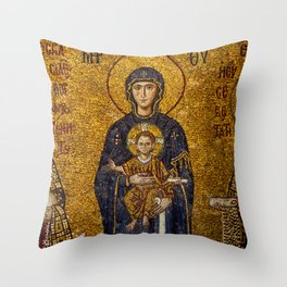 Mosaic Mary and Jesus Throw Pillow