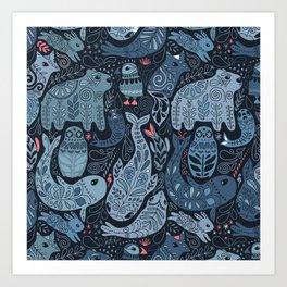 Arctic animals. Polar bear, narwhal, seal, fox, puffin, whale Art Print