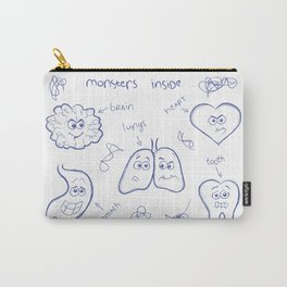A funny doodle concept illustration. Monsters inside each human body.  Carry-All Pouch