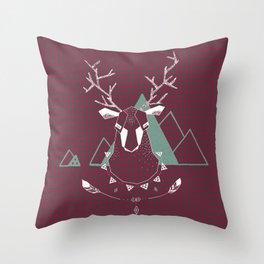 Christmas Geo Deer 4 Throw Pillow