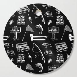 Gone Fishing // Black Cutting Board
