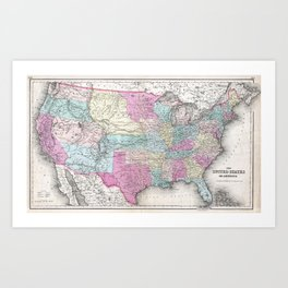 1857 Colton Map of the United States of America Art Print