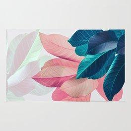 Pink and Blue Leaf Rug