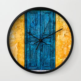 Blue Door Yellow Wall - For Doors & Travel Lovers Wall Clock