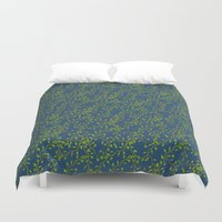 climbing Duvet Covers featuring Climbing leaves by Louisa Heseltine