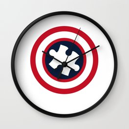 His Fight Is My Fight Autism Awareness Shield Captain Autism Wall Clock