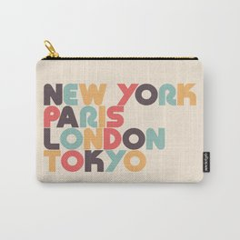 New York Paris London Tokyo Typography - Retro Rainbow Carry-All Pouch