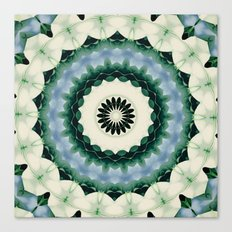 White Flower and Cerulean Blue Mandala Canvas Print