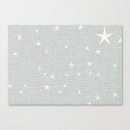 Grey star with fabric texture - narwhal collection Canvas Print